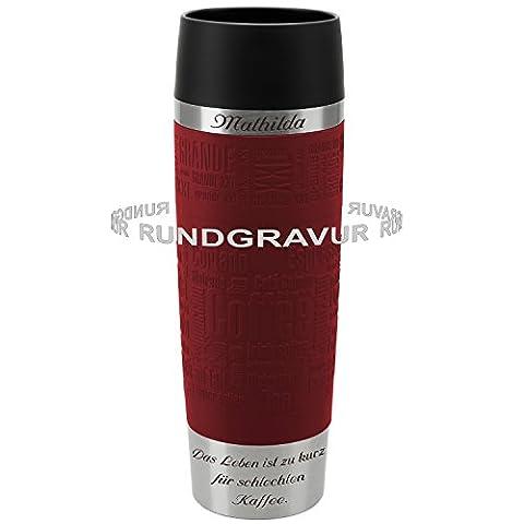 Emsa Thermobecher TRAVEL MUG Grande Rot 0,5 L mit persönlicher Rund-Gravur gelasert Edelstahl Soft-Touch-Manschette mit Quick Express