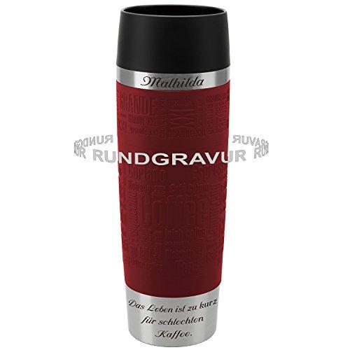 Emsa Thermobecher TRAVEL MUG Grande Rot 0,5 L mit persönlicher Rund-Gravur gelasert Edelstahl Soft-Touch-Manschette mit Quick Express Verschluss