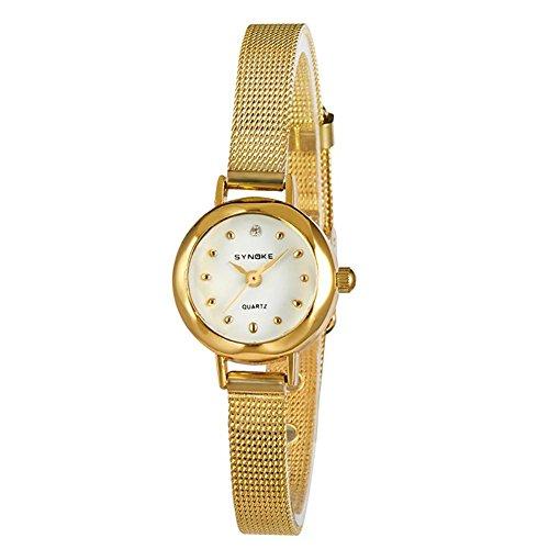 Art und Weiseuhr-Damen net mit beiläufiger Art und Weise Dame-Quarz-Uhr-Retro- beiläufiges Armbanduhr-Frauen-Geburtstag-Geschenk , gold - Uhr Dual Face Damen