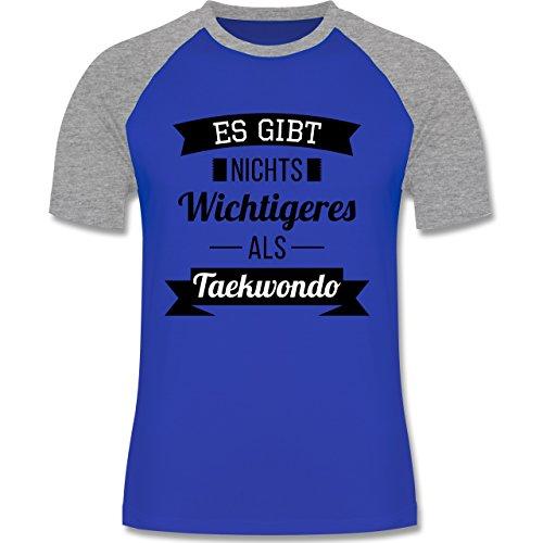 Kampfsport - Es gibt nichts Wichtigeres als Taekwondo - zweifarbiges Baseballshirt für Männer Royalblau/Grau meliert