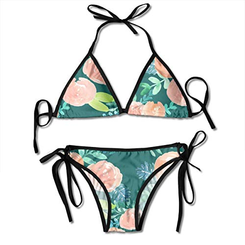 Coral Florals On Dark Forest Green Women's Halter Bikin Swimsuits Bikini Set Thong Bikini