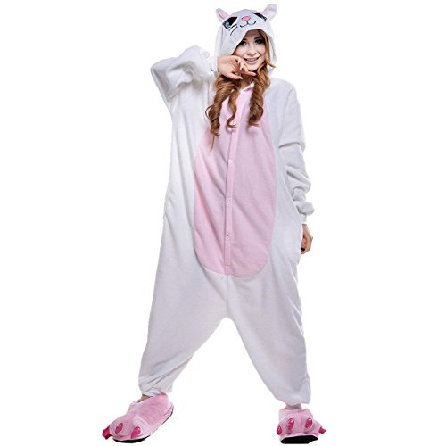 URVIP Erwachsene Unisex Jumpsuit Tier Cartoon Fasching Halloween Pyjama Kostüm Onesie Fleece-Overall Schlafanzug Weiß Katze Medium