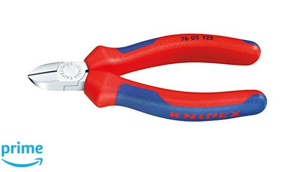KNIPEX 76 12 125 Pince coupante de c/ôt/é pour /électrom/écanicien noire atramentis/ée avec gaines bi-mati/ère 125 mm