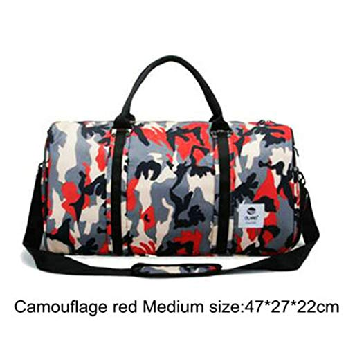 Men Camouflage Sporttasche Lage Capacity Storage Travel Handtasche wasserdichte Oxford Gepäcktasche Red Medium Size