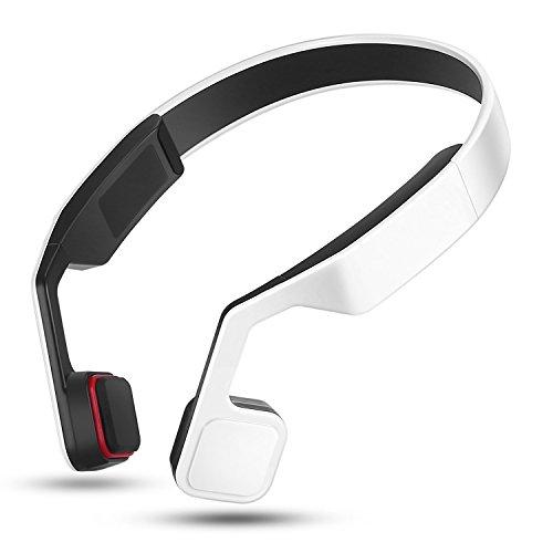 Open Ohr Wireless Bone Conduction Kopfhörer, Bluetooth V4.2Kopfhörer Wireless Sport Headset integriertem Mikrofon Schweiß-für iPhone, Android, alle Anderen Bluetooth-fähigen Geräten One Size weiß