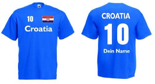 Croatia / Kroatien Trikot mit Wunschname und Wunschnummerroyal L (Kroatien-fußball-t-shirt)