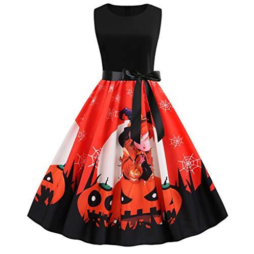 Fresofy Spinnennetz Halloween Karneval Kostüm Damen Knielang Fledermaus Drucken Casual Kleid Herbst A-Linie Swing Minikleid Rundhals Knielang Partykleid Casual Kleider