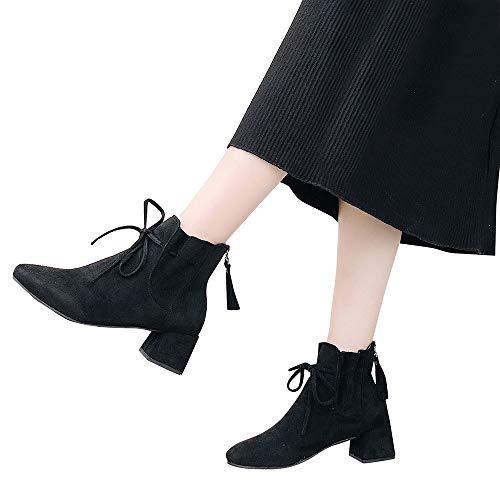TianWlio Stiefel Frauen Herbst Winter Schuhe Stiefeletten Boots Zurück Reißverschluss Wildleder Schuhe Stiefeletten Bow Mode High Heel Stiefel Schwarz 37