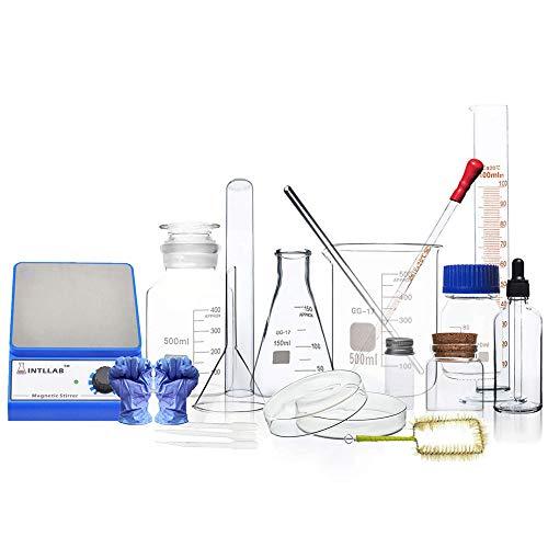 Labor-Magnetrührer, Laborchemie Glaswaren DIY Borosilikatverdickung Glasbecher Dreieck Glaskolben Glasstab Petrischale Hohe Temperaturbeständigkeit Chemische Vorbereitung Reaktionsgefäß Teaching Instr