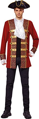 Jacke Admiral Kostüm - Piraten Jacke Kostüm Herren Admiral Kostüm Mantel Jabot Manschette Brust Größe 42-44