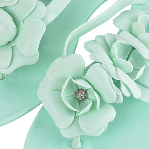 Vertvie Mädchen Damen Süße Sommer Hausschuhe Badeschuhe Komfort Kamelie Blumen mit Strass flache Sandalen Flip-Flops Pantoffeln Zehntrenner Strandschuhe Grün 6G526