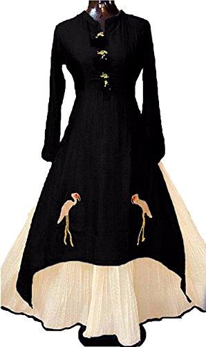 Harikrishnavilla Women's Gown Latest Party Wear Designer Net silk Embroidery Semi Stitched...
