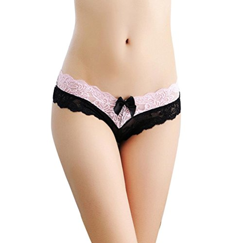 SUCES Dessous Damen Frauen Briefs Lace Panties Elegant Spaß Tangas G-String Dessous Unterwäsche Damen Tanga Bikinihose String Rüschen Brazilian Bikini Slip Schnüren Höschen (Black) (Brazilian Panty)
