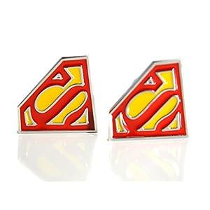 Beaux Bijoux – Superman Superhero Manschettenknopf Herren Hemd Manschettenknöpfe Paar – Gelb und Rot