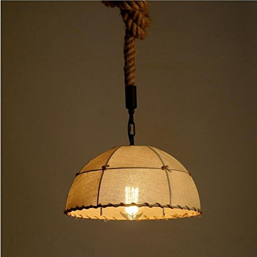 Suspensions LOFT Rétro Semi-circulaire fer et corde de chanvre pendentif lumières pour Home Bar Cafe Balcon (exigent ampoule E27)