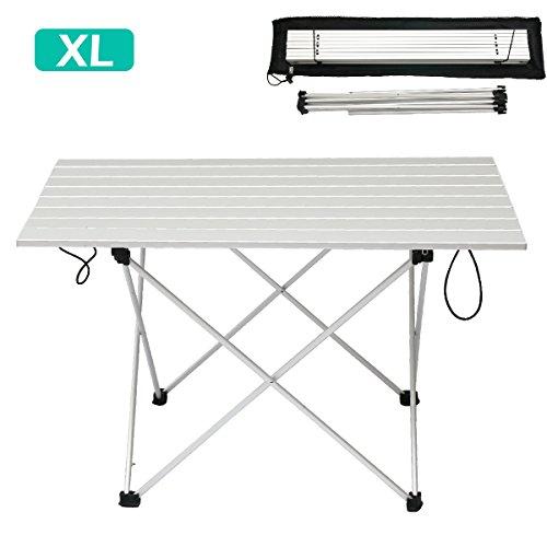 Triwonder tavolo pieghevole da campeggio in alluminio ultraleggero roll-up portatile pieghevole per esterno campeggio picnic barbecue spiaggia pesca (argento - xl (26.77