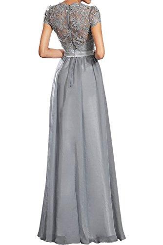 Ivydressing Romantisch Neu Silver Chiffon Spitze Band Promkleider Lang Abendkleider Partykleider Silver