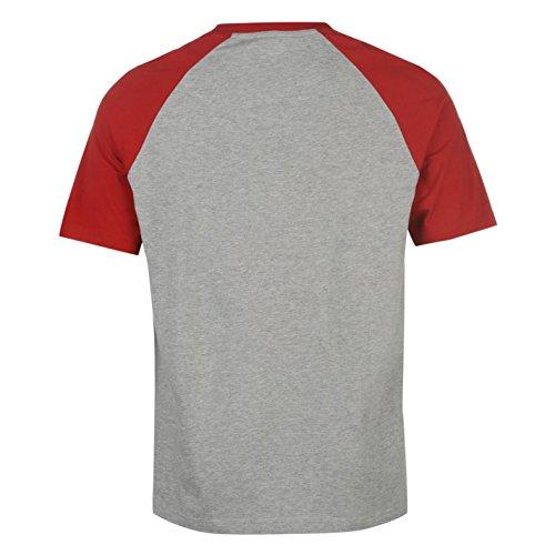 Hot Tuna Herren T Shirt Kurzarm Baumwolle Print Gerippter Rundhals Freizeit Grau M Raglan