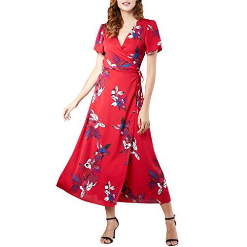 Bellelove Damen Kleider Sommerkleid V-Ausschnitt Blumen Maxikleid Kurzarm Strandkleid Lang Mit Schlitz