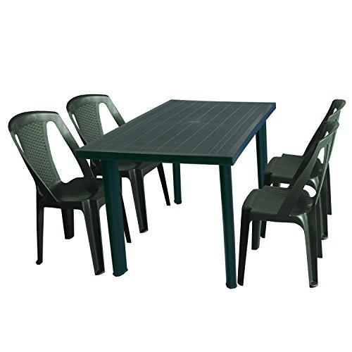 Multistore 2002 5tlg Gartenmöbel-Set Gartentisch, 125x75cm, Sonnenschirmöffnung + 4X Stapelstuhl Procida - Kunststoff, Grün