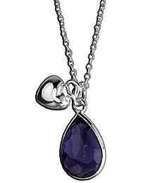 Collier AE finesse, 925 Silber - Sterling Silber, Anhänger / Herz-Motiv / Zirkonia violett