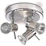 Marco Tielle Satin Chrome Finish Halogen Bathroom Ceiling Lights / Lighting with 3 Spotlights IP44 Rated