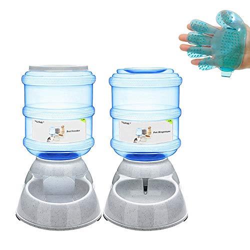 Yizish Automatische Futterautomaten Set + Haustier Bürste, Futterautomat und Wasserspender für Hund, Katze und andere Haustieren, 3,5 L Flaschen