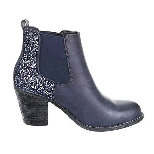 Damen Schuhe, JA3090, USED OPTIK BOOTS STIEFELETTEN Blau Lila