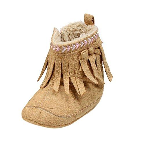 Jamicy® Kleinkind Mädchen Winter Schuhe Mode weiche Sohle Prewalker Quaste Winterstiefel Khaki