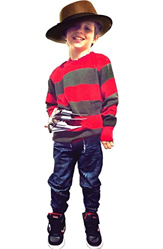 Kids Boy Freddy Maske Red & Green Streifen Krueger Strickjacke Hut Handschuh Kostüm (Large(11-12), Jumper+hat-&-Gloveset)