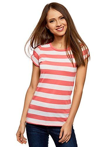 oodji Ultra Damen Gerades T-Shirt mit Einschnitten an den Ärmeln, Rot, DE 36 / EU 38 / S
