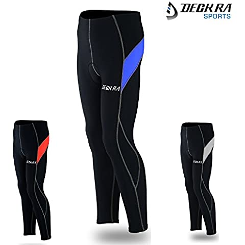 Deckra Ciclismo pantaloni antivento termale fredda indossare leggings invernali ciclismo calzamaglia imbottito Bike (nero / blu, grande)