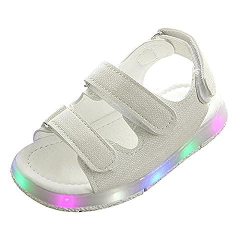 Kleinkind Jungen Mädchen Sandalen LED leuchten Schuhe Weiß Size 22