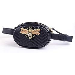 Lydia Señoras cinturón cinturón Cintura Bolsa de Mensajero Bolsa Pierna Nueva Personalidad Salvaje Moda Mini Bolso Redondo Bolsa de Pecho Bolsa Bandolera teléfono móvil, nematodo de Oro Negro