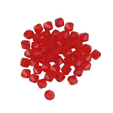 KINGSTONS 4mm Red Faceted Bicone Shape Crystal Beads for DIY Making tools (Approx.50pcs )