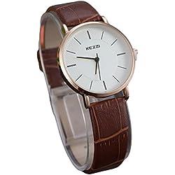 Kezzi Damen Armbanduhr minimal Lederband gold braun