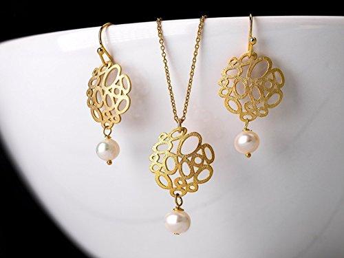 erlicher Perlen-Schmuck: Vergoldete Sterlingsilber-Kette und Ohrringe mit Bubble-Elementen und Süßwasser-Perlen, das perfekte Geschenk. (Ostern Elemente)