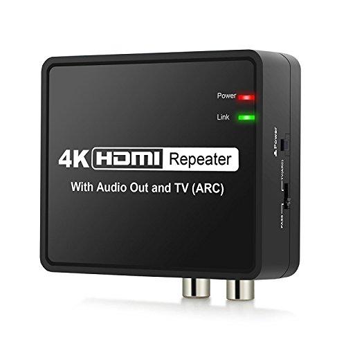 HDMI ARC Audio Extractor 4Kx2K HDMI auf HDMI Optische TOSLINK SPDIF L R Stereo Audio Konverter mit EU Netzteil ARC Funktion PASS/2.0/5.1CH HDMI Audio Splitter Adapter unterstützt Full HD 1080P-Schwarz Tiefe Nur Wandler