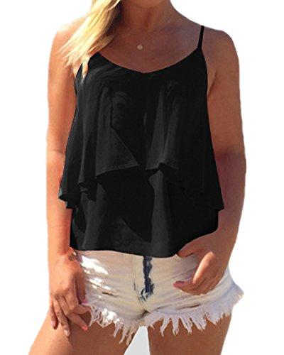 ZANZEA Damen Ärmellos Chiffon V-Ausschnitt Party Sommer Strand Club Shirt Tank Tops Schwarz EU 42/Etikettgröße XL