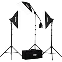 "StudioPRO 2500 Watt 20""x28"" Softbox Photo & Video Studio Lighting Kit with One-Quick EZ Setup Softbox & Boom Arm - Includes Photography Carrying Case (Set of 3)"