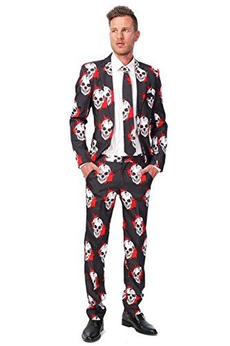 Suitmeister blutige Totenköpfe Anzug (Mens Black Anzug Kostüme)