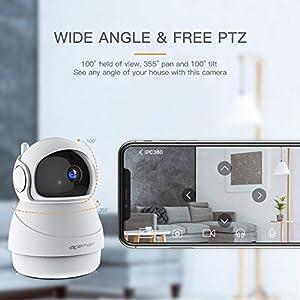 Apeman 1080P IP Cámara WiFi,Cámara de Vigilancia Seguridad para casa con Visión Nocturna, Audio de 2 Vías, Detector de Movimiento Pan/Tilt, Compatible con iOS/Android