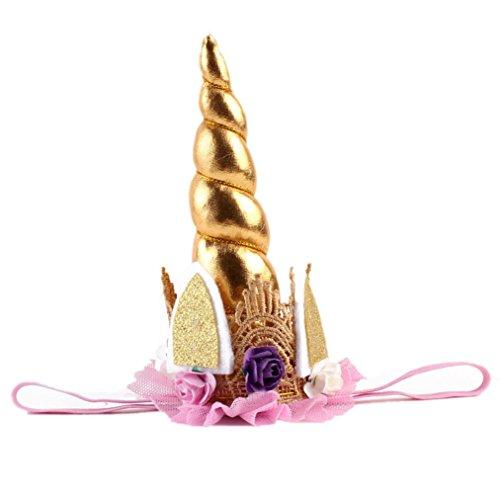 LETTER® Mädchen-Einhorn-Horn-Haar-Band-Stirnband- Nette Blumen-Krone (Krone Sonnenbrillen)