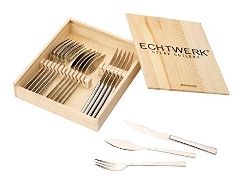ECHTWERK SARRE 18 TLG.Edelstahl 18/10 poliert Inkl. Holzkassette Steakbesteck Set, Edelstahl, 22.7x22x5 cm, Einheiten