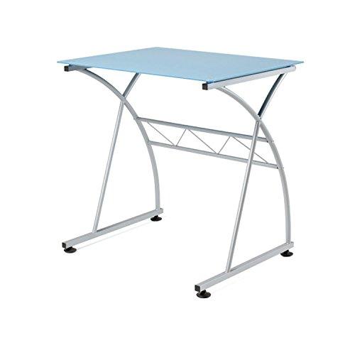 Due-home - Mesa escritorio ordenador Newton, cristal Azul estructura metálica, medidas 70x54x73 de altura