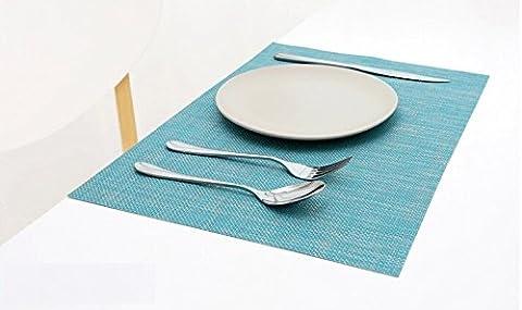 Set de table Plastifi¨¦ 2-2 blue PVC Placemats Dining Table Sets Clest F&H R¨¦sistant ¨¤ la Chaleur (Set of 2 pcs)