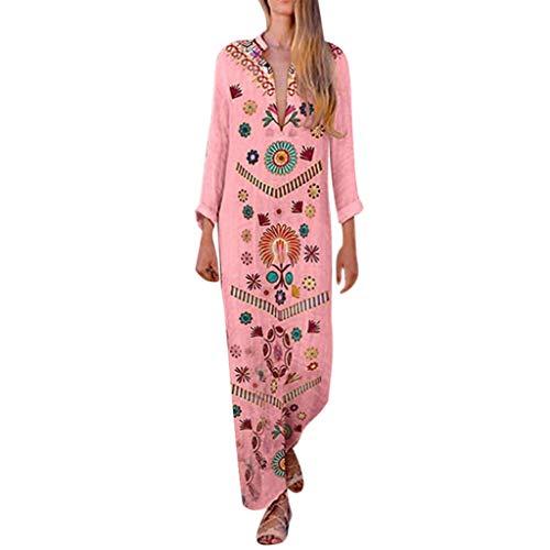 Sannysis Damen Maxikleid Langes Elegantes Kleid Strandkleider Türkischer Stil Boho Strandponcho Lose Maxi Kimono Kaftan Tunika Lange Sommerkleider (3XL, Rosa -4) - Stil Kaftan