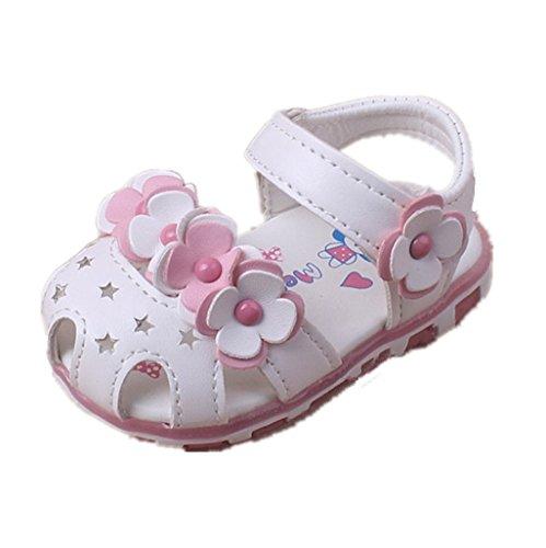 Chaussures bébé fille Auxma Sandales de fleurs pour bébé fille Chaussures de princesse à rayures douces allumées Pour 3-6 6-12 12-18 mois (3-6 M, blanc) blanc