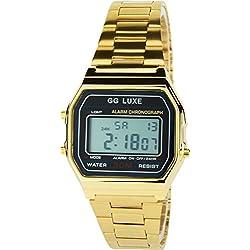 GG LUXE- Damen Armbanduhrschwarz Quarz Stahl Rechteck Alarm Chronometer Licht Anzeige Digital Led Water Resist 3 ATM Sport Armband GoldStahl