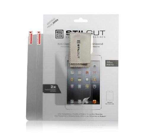 StilGut 2x Displayschutzfolie für Apple iPad Mini, Wi-Fi + 3G Antireflex Schutzfolie